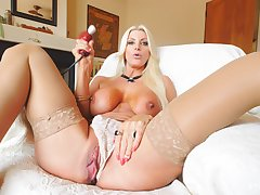 Instantly home unparalleled Brittany pleasures her pussy with a large toy