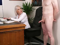 Office blonde wants the avant-garde guy's dick in a short CFNM tryout