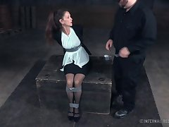 Mature cooky Paintoy Emma gets spanked and punished in the dark room