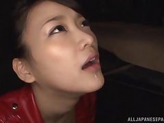 Close up motion picture of slutty Wakana Nao skunk balls together with butt