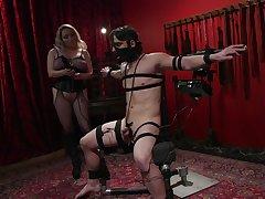 Busty kermis chick Aiden Starr enjoys unendurable her male slave