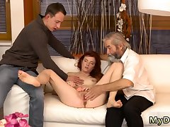 Blonde with massive titties rides her man first time