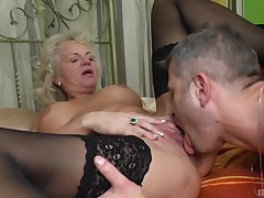 Granny goes hyperactive mode straight away it comes to young dicks