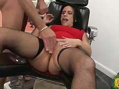 Dirty mature Anna spreads her legs to be fucked by two dudes