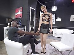 Busty blonde doll plays obedient just about the face be useful to a BBC