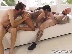 Ebony beauty ass rammed by two blokes with big dicks