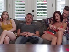 Swingers swapping sexy busty girls - taboo group sex