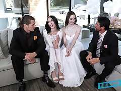 Foursome sex approximately swapped babes Jazmin Luv and Hazel Moore
