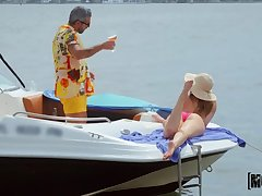 Hardcore sex on a motorboat with slutty girlfriend Kenzie Madison