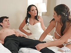 Energized women share a young man's cock have a weakness for true porn goddesses