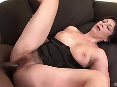 Chaise longue interracial pleases hot mature with great sex