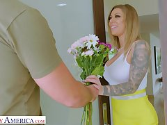 Horny MILF Karma RX spreads her fingertips to be fucked balls deep