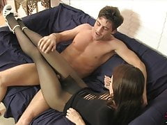 Teasing Teen Jerks Him off on Her Pantyhose