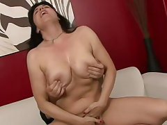 Beautiful busty brunette wife and her older husband are ready to paint their first sex tape