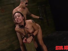Dom uses his cuffed girl relative to a dungeon aggressively