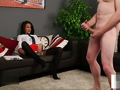 Uniformed british voyeur instructs detach from couch