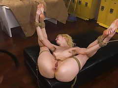 Tied Chloe Cherry gets her pussy pleased in someone's skin stranger's basement