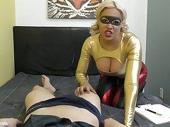 Bosomy blonde gives a blowjob and titjob to hot blooded Asian stud Jason Katana