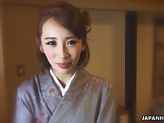 Japanese nympho in kimono Aya Kisaki is brim about to masturbate herself