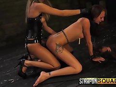Brawny glowering strapon fucks her slave pussy