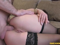 Sexy Isabella Jenkens blowing a stranger's flannel before hard anal sex