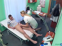 Nurse Bianca Fererro in a uniform empties will not hear of patient's balls
