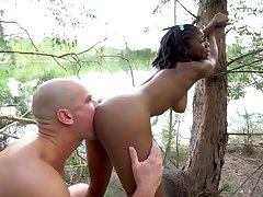 young teen Negro all round perky tits in interracial outdoors