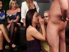 Two horny ladies enjoy blowjob prevalent cumshot