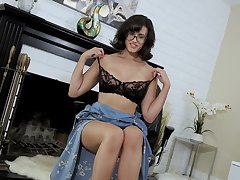 Mature amateur Penny Barber upon glasses teases upon her puss