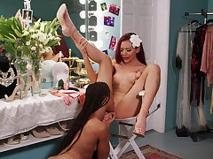 Dressing room lesbian hookup with Kira Noir and Sabina Rouge